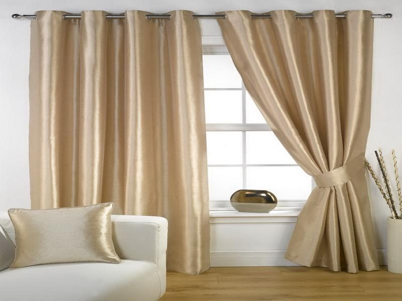 Extra Long Curtain Rods For Windows Plus White Sofa And Golden Cushions Wooden Laminated Floor