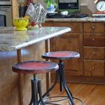 extremely adjustable vintage metal bar stools together with wooden kitchen bar with marble countertop plus hardwood flooring