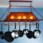 fabulous pot rack with lights made of metal with great numbers of hooks and stylish pan for functional kitchen ideas