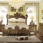 fancy bed frame idea with crafted metal headboard and footboard a bedside tables with beautiful craft art a bedroom vanity with mirror large crystal pendant lamp white bedroom rug idea