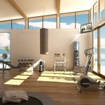fantastic home gym essentials in modern design with barble and other gym equipment
