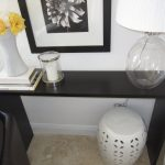 fascinating console tables ikea in dark brown finish decorated against the wall plus elegant table lamp and ceramic vase and white round ottoman