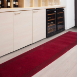 fashionable deep red kitchen rug and mat idea on wooden floor with white cabinet