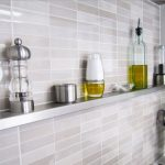 fashionable long stainless steel floating shelf idea in the kitchen for spicy rack