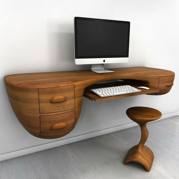 floating corner desk with unique design featuring two drawers and keyboard  board together with wooden stool