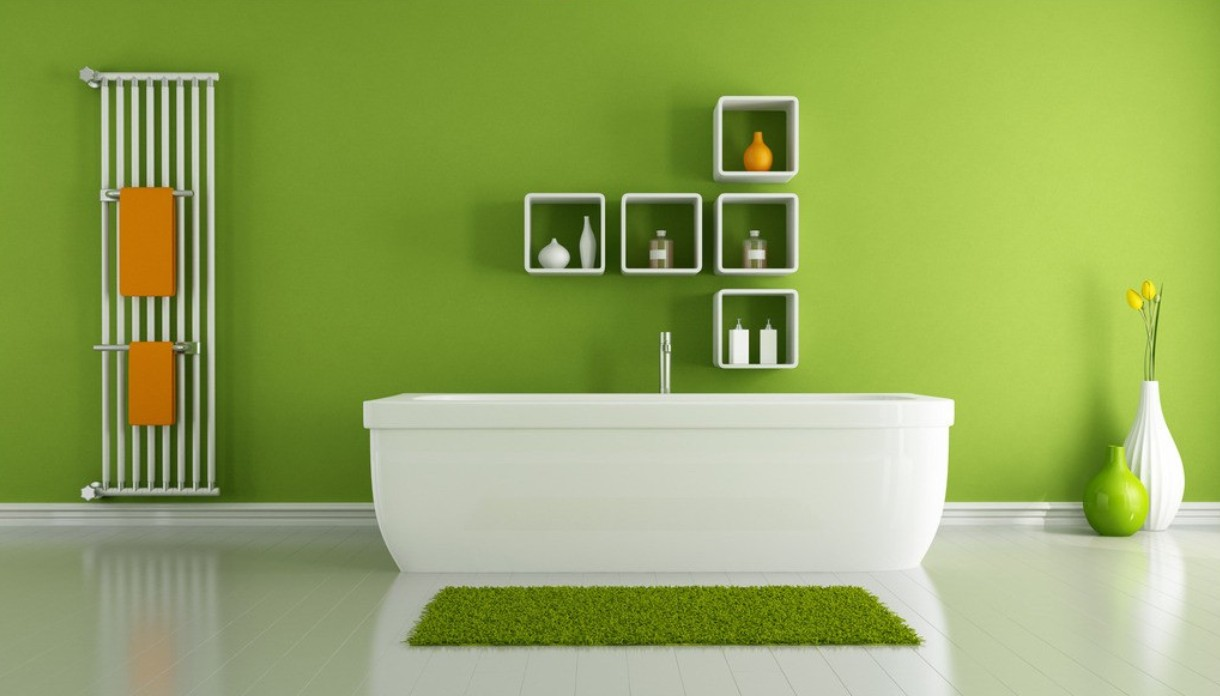 Bedroom paint ideas green - Fresh Green Bathroom Color Trend With Freestanding Bathtub And Wall Unit And Pottery And Towel Rack