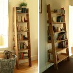 functional ladder shelving unit for bookcases together with wooden basket and clock and cd for beautiful home decorating ideas