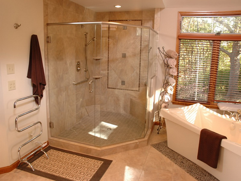 Functional Shower Ideas For Master Bathroom With Corner Walk In And Ceramic Bathtub Aside Plus