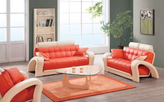 futuristic unique orange sofa design with white accent frame and plaid texture and triangle glass coffee table and wooden floor and glass window