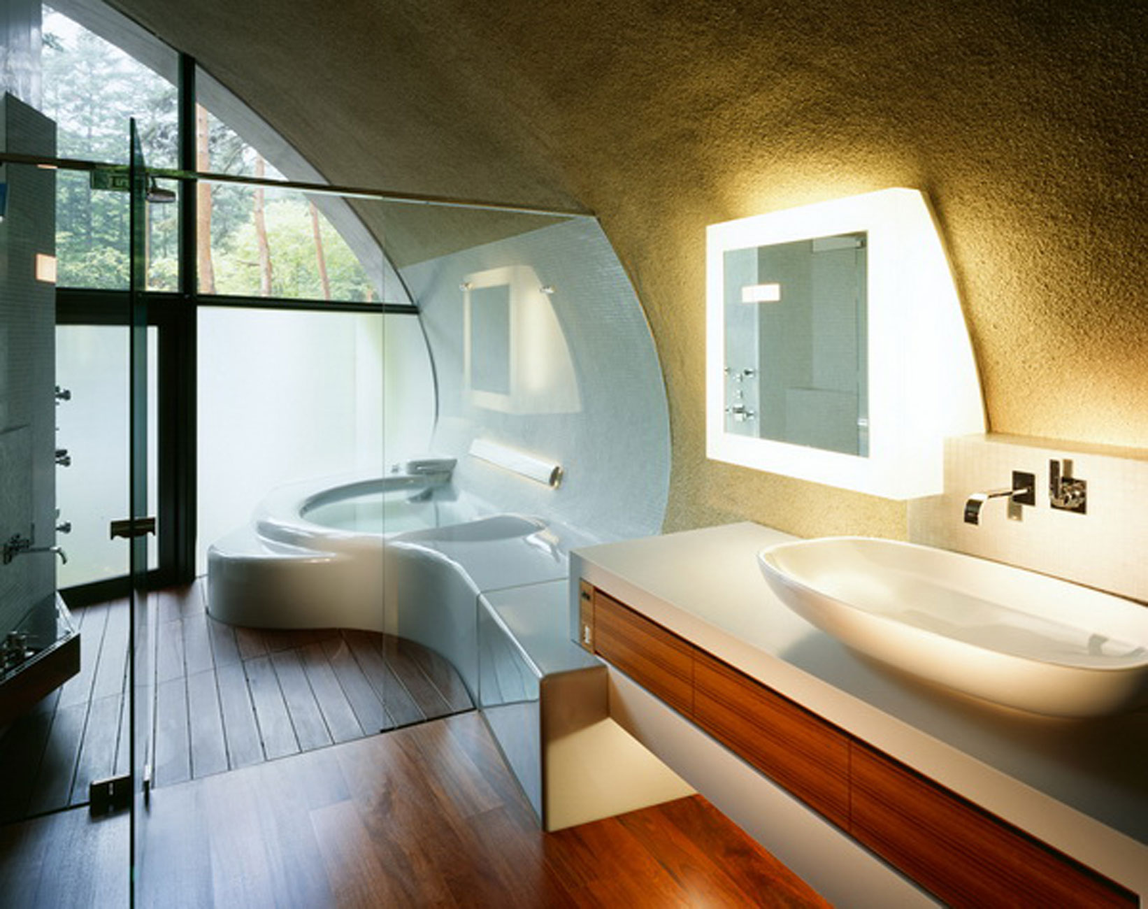 Let your body trapped in serenity in japanese bathroom for Villa de luxe moderne interieur