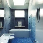 glorious blue small toilet dimension design with sparkling tile mosaic on the wall and floor with simple white sink