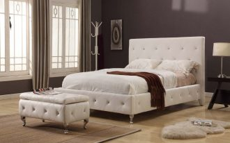 gorgeous and luxurious creamy tufted worth platform bed with tall headboard and creamy wooden floor