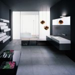 gorgeous black bathroom idea with glass window and gray floating vanity and wall mirror and wall unit