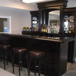 gorgeous black classic home bar ikea design with leather stools and wine storage and wooden table
