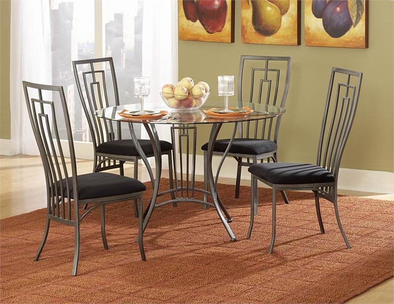 Gorgeous Black Dining Room Seat Cushion Idea With Gray Metal Chair Frame On Brown Rug