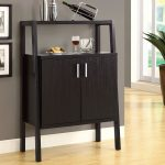 gorgeous black home bar ikea design with open storage and wine stand on wooden floor