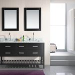 gorgeous black  image of bathroom vanity idea with drawers and double black framed wall mirrors and double sinks and purple area rug