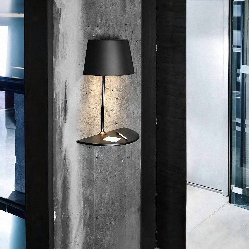 gorgeous black shaded wall lamp idea on concrete siding with unique floating storage aside glass window - Wall Lamps Design