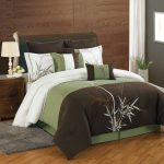 gorgeous brown and green california king bed comforter set idea with natural pattern on wooden floor and siding