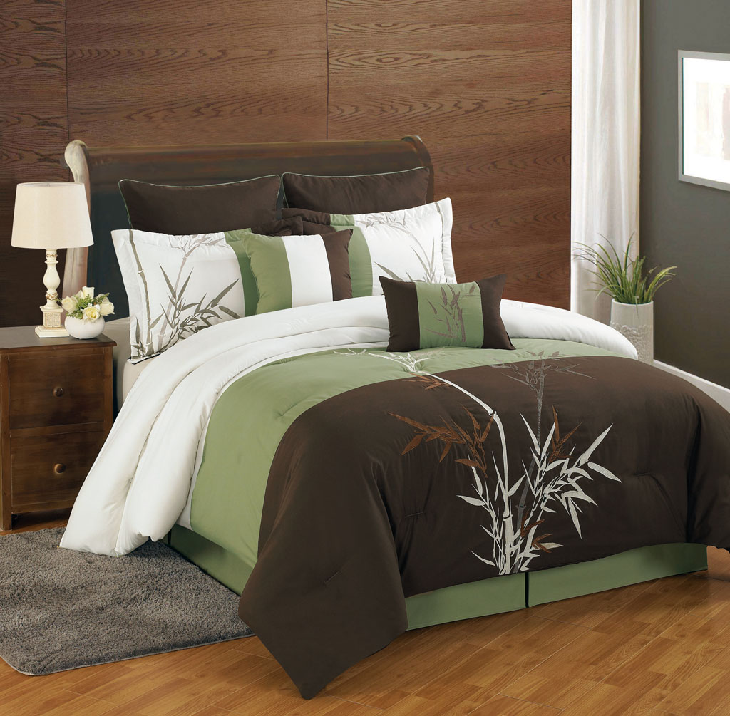 gorgeous brown and green california king bed comforter set idea with natural pattern on wooden floor