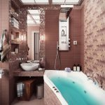 gorgeous brown bathroom decoration with curved white tub for small room with 3D wallpaper and unique vanity