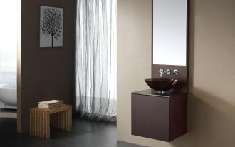 gorgeous brown image of bathroom vanity idea with single floating style and black bowl and wall mirror