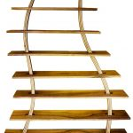 gorgeous curved wooden free standing bookshelves design with various slots