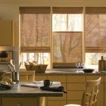 gorgeous kitchen design idea with tan cabinet from wood with brown rolled blind design and dining table