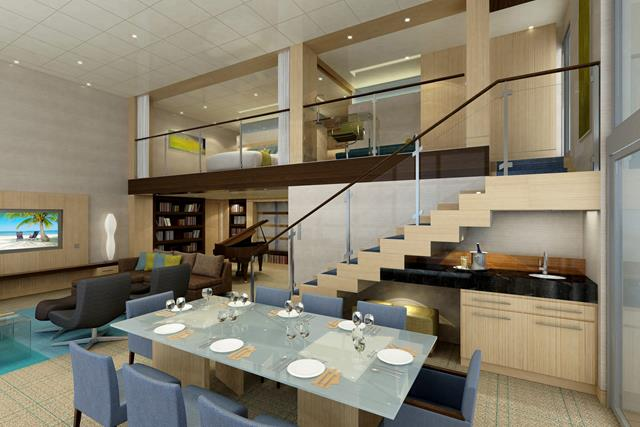 High Quality Gorgeous Modern And Beautiful Interior Design With Staircase And Glass  Railing Idea And Navy Blue Dining