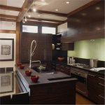 gorgeous natural wooden kitchen design with dark brown wooden cabinert with ceiling lamps and track lamps and wooden floor