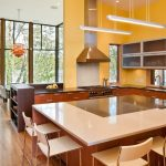 Gorgeous Natural Yellow Open Kitchen Design With Wooden Cabinet And White Isladn With White Stools And Pendant Light