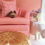 gorgeous pink accent chair idea iwth chevron pink cushion and golden silk coffee table and white elephant end table