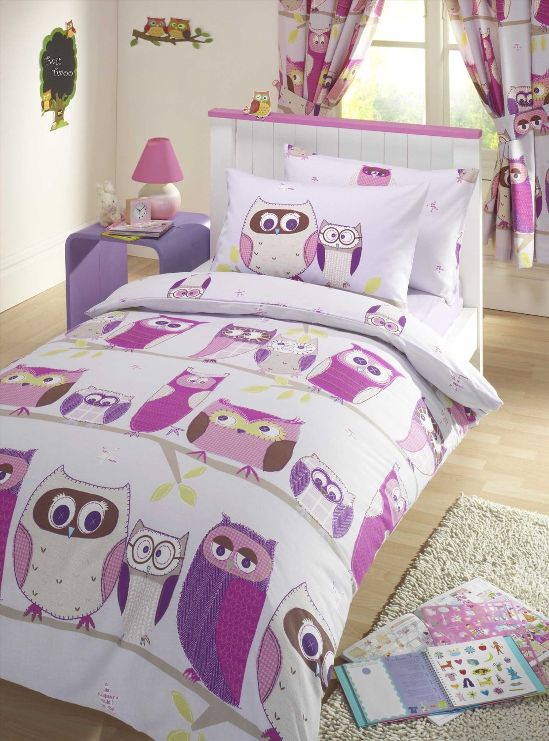 Gorgeous Purple Owl Bedding Set With Big Print And Small Single Bedding And  Owl Curtain And