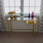 gorgeous retro yellow console table ikea design with floating storage and potted plants beneath glass window with patterned curtain