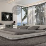 gorgeous slim shapped worth platform bed design on gray furry rug with transparent enclosure