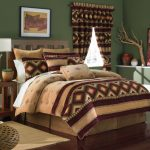 gorgeous tan and brown california king bed comforter design with wooden floor and green painted wall