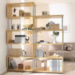 gorgeous tan wooden freestanding bookshelves deisgn in potted indoor plants