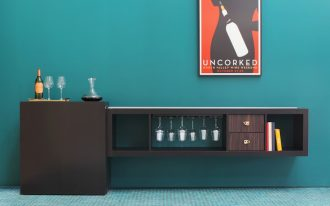 gorgeous turquoie pianted wall with floating home bar ikea design with wine storage and bookshelves