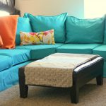 gorgeous turquoise  ikea leather couch idea with wooden coffee table with colorful cushions and loveseat