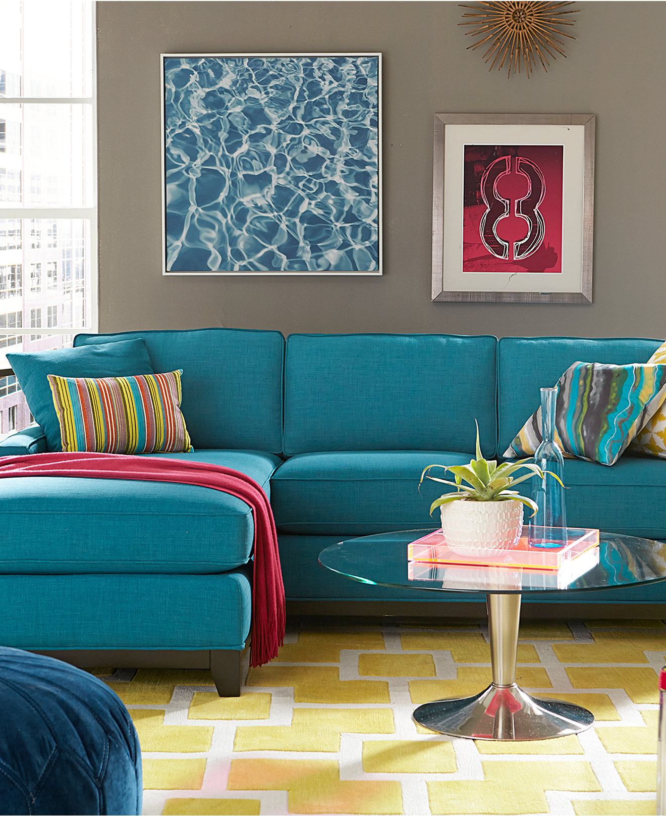 Gorgeous Turquoise Sectional Sofa Clearance Idea Design With Round Glass  Coffee Table And Yellow Patterned Area