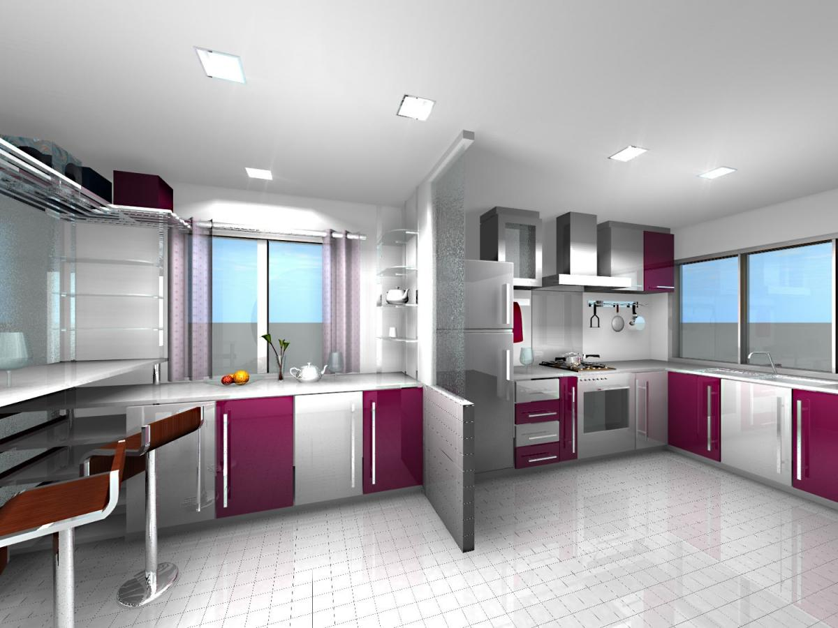 Gorgeous White And Purple Combination Of Kitchen Cabinet Planner Idea With  Open Plan And Modern Bar