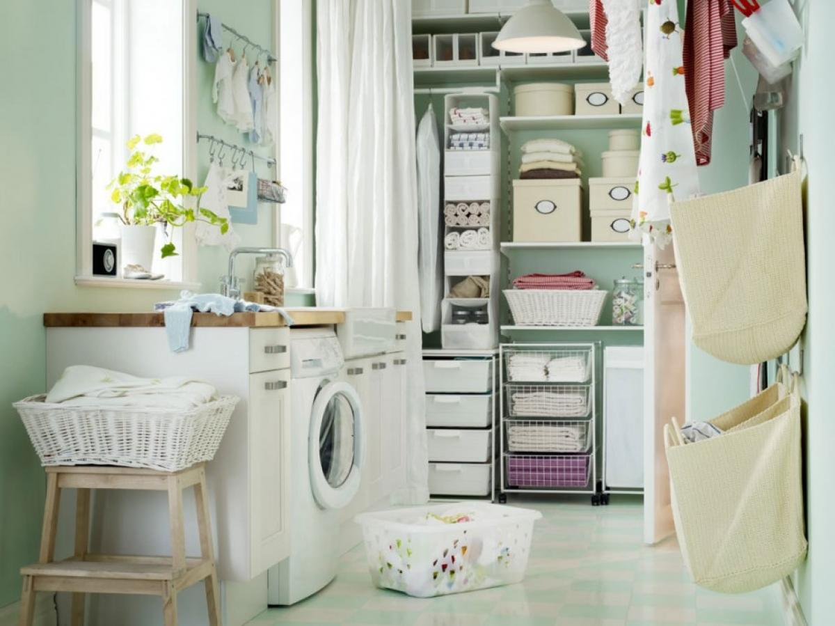 gorgeous white and small laundry room with behind door storage and gray laundry room shelf idea