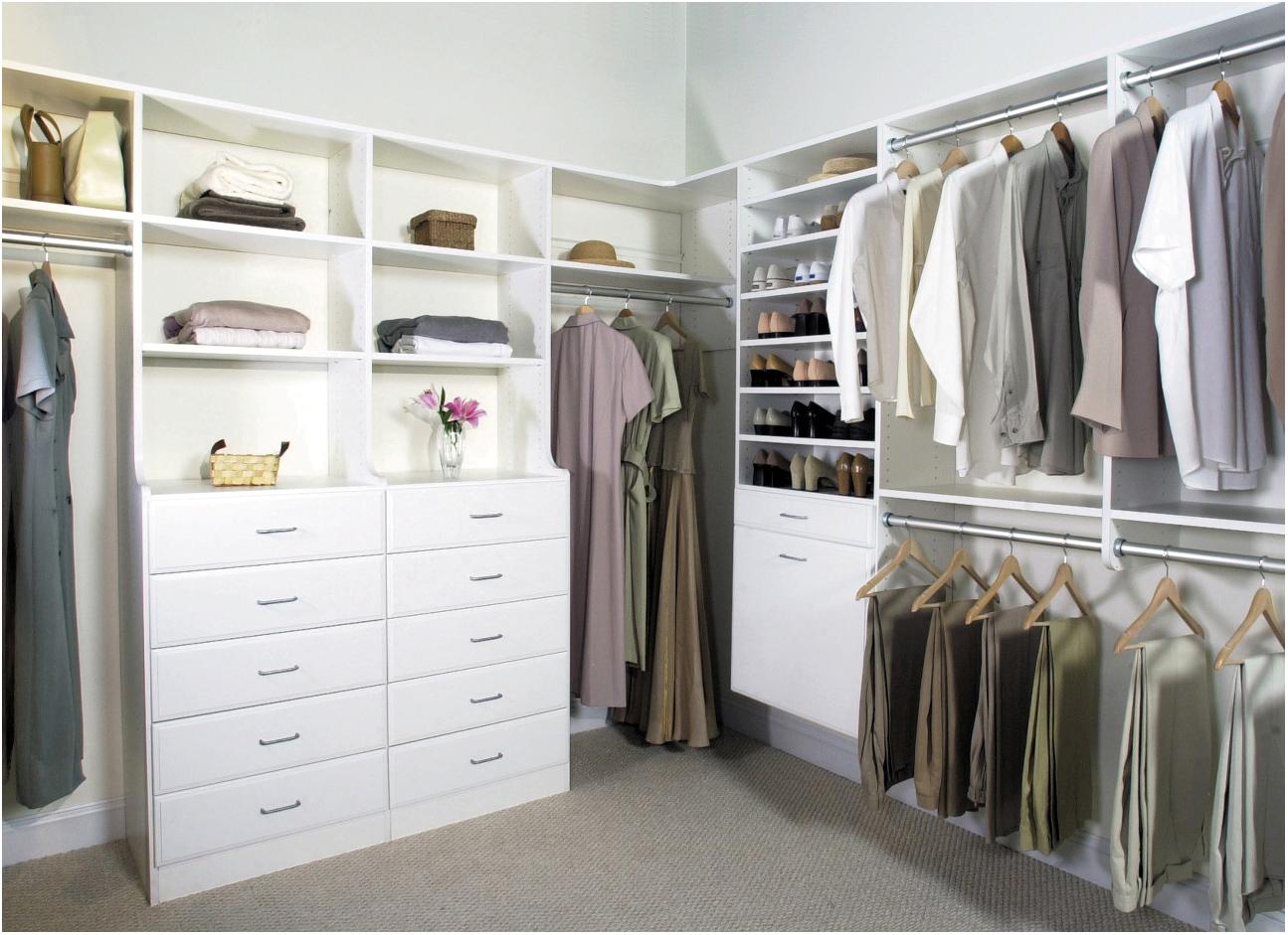 gorgeous white walk in closet design with white dresser for closet idea on gray floor rug