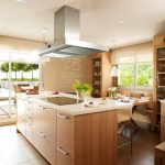 gorgeous wooden cbainet in 2015 kitchen fashion trend idea with indoor plant and unique lfooring and extended living space