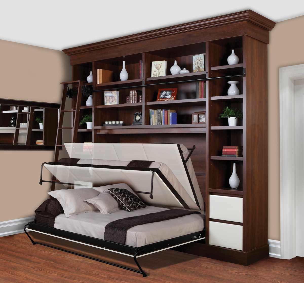 Gorgeous Wooden Storage Design With White Murphy Bed Kit Lowes On Wooden  Floor With Creamy Painted