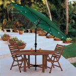 green lighted patio umbrella with round table and folding chair for mesmerizing patio and backyard ideas