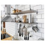 grundtal-magnetic-strip-knives-IKEA-mounted-on-the-brick-pattern-wall-under-stainless-steel-dish-rack
