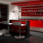 home bars ikea with red wall mounted cabinetry system and stylish bar stools and black tiling floor