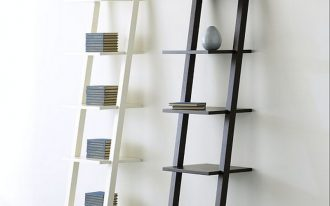 ikea ladder shelving unit made of wooden with two different scheme for decorating cd books and ceramics