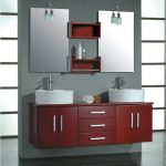 images of bathroom vanities in red with white ceramic vessel sink and stainless steel faucet plus frameless rectangular mirrors and elegant wall sconces and shelves on the wall